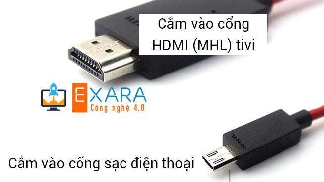 Cách kết nối điện thoại với Tivi bầng HDMI